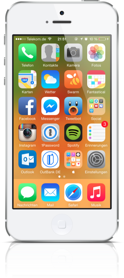 Mein iPhone-Homescreen, Stand April 2015