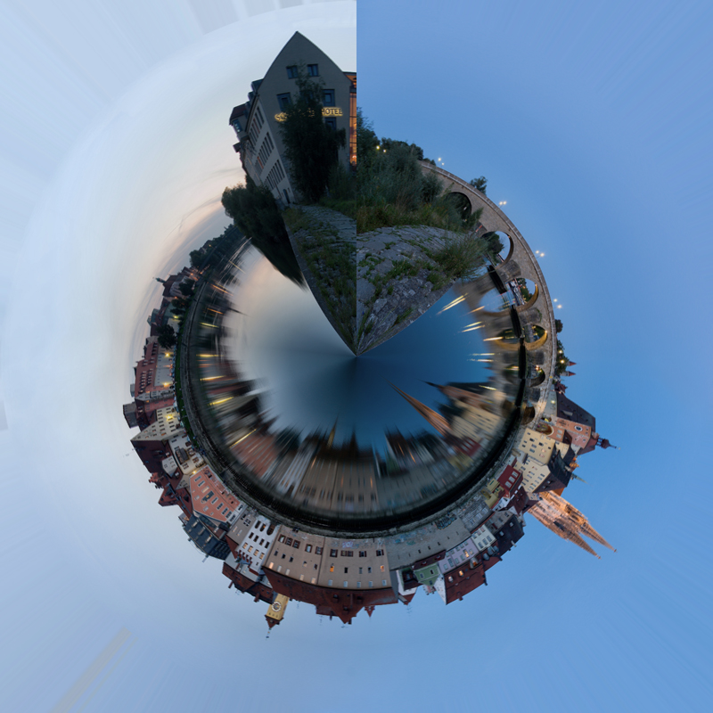 Unser Foto, nachdem es um 180° gedreht und der Filter Polarkoordinaten angewendet wurde